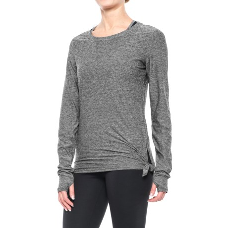 Nicole Miller Asymmetrical Shirt - Long Sleeve (For Women) in Black Heather