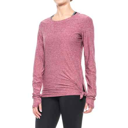 Nicole Miller Asymmetrical Shirt - Long Sleeve (For Women) in Red Plum Heather - Closeouts