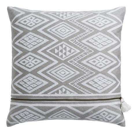 """Nicole Miller Atelier Geo-Pattern Decor Pillow - 20x20"""", Feathers in Taupe"""