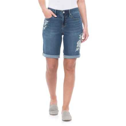 Nicole Miller Carnegie Wash Denim Shorts (For Women) in Medium Blue - Closeouts