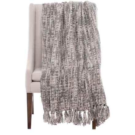 "Nicole Miller Chunky Woven Leanna Throw Blanket - 50x60"" in Grey - Closeouts"
