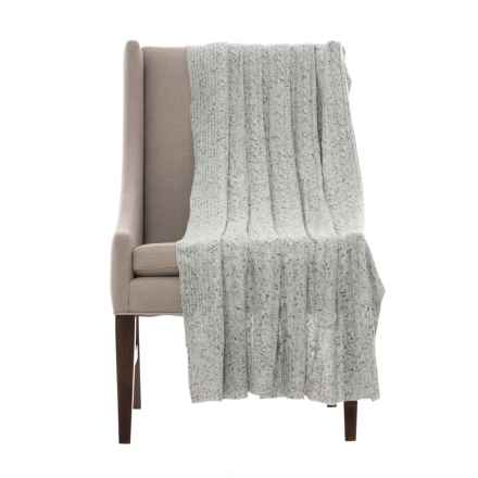 "Nicole Miller Clara Throw Blanket - Wool-Cashmere, 50x60"" in Grey - Closeouts"