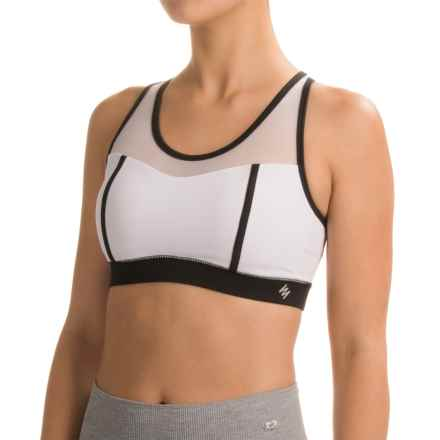 Nicole Miller Color-Block Sports Bra - Racerback, Medium Impact (For Women) in Stark White - Closeouts