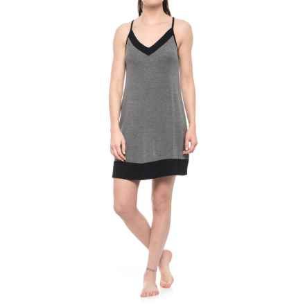 Nicole Miller Color-Block V-Neck Chemise - Sleeveless (For Women) in Black/Heavy Metal - Closeouts