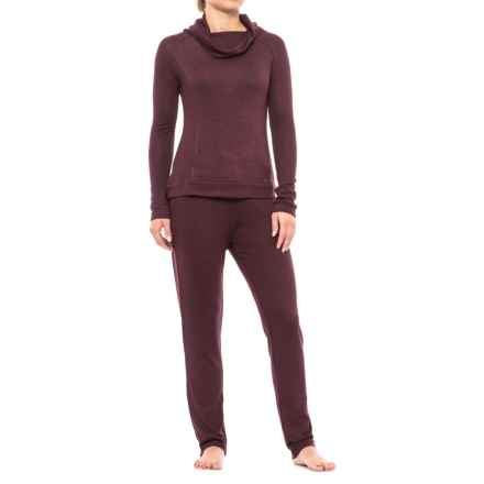 Nicole Miller Cozy Drape Neck Pajamas - Long Sleeve (For Women) in Malbec Marl - Closeouts