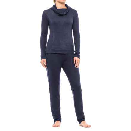 Nicole Miller Cozy Drape Neck Pajamas - Long Sleeve (For Women) in Stellar Night - Closeouts