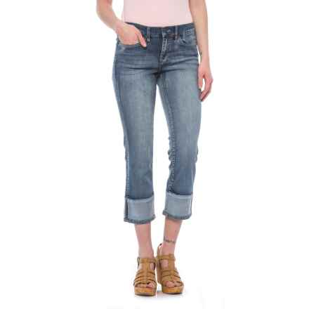 Nicole Miller Cuff Hem Crop Jeans - Mid Rise, Straight Leg (For Women) in Medium Blue/Grimes - Closeouts