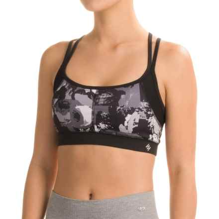 Nicole Miller Digital Rose Print Sports Bra - Medium Impact (For Women) in Black - Closeouts