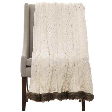 "Nicole Miller Dorinda Chenille Throw Blanket - 50x60"" in Ivory - Closeouts"