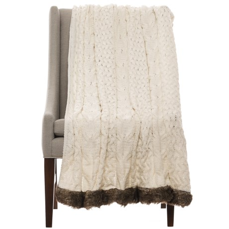 "Nicole Miller Dorinda Chenille Throw Blanket - 50x60"" in Ivory"