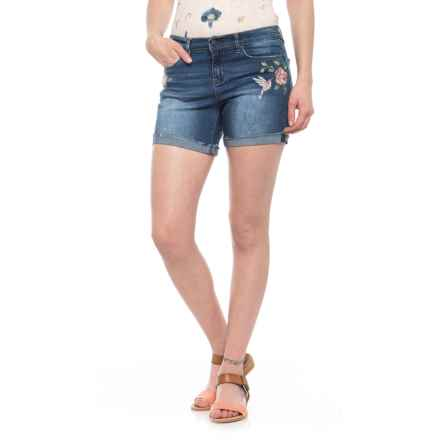 "Nicole Miller Embroidered Denim Shorts - 5"" (For Women) in Dark Blue - Closeouts"