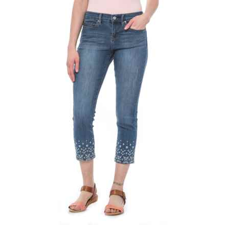 Nicole Miller Embroidered Skinny Crop Jeans - Mid Rise (For Women) in Dark Blue/Bond - Closeouts