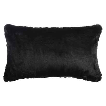 "Nicole Miller Faux-Fur Bobby Accent Pillow - 14x24"" in Black - Closeouts"