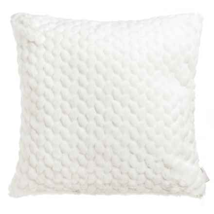 "Nicole Miller Faux-Fur Throw Pillow - 20x20"" in Ivory - Closeouts"