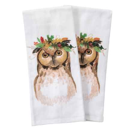 "Nicole Miller Floral Crown Owl Kitchen Towels - Set of 2, 18x28"" in Orange - Closeouts"