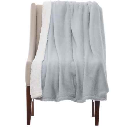 """Nicole Miller Fluffy Sherpa Throw Blanket - 50x60"""" in Grey - Closeouts"""