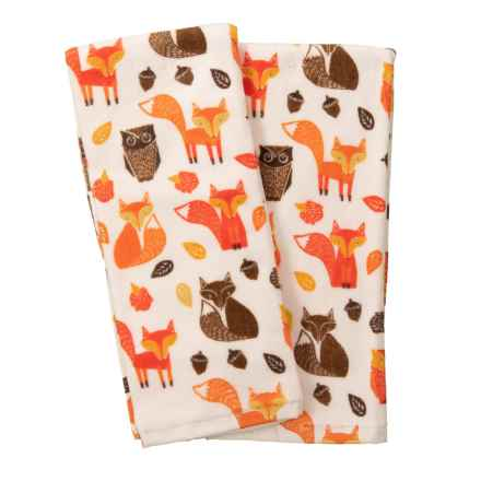 "Nicole Miller Foxes and Owls Kitchen Towels - Set of 2, 18x28"" in Orange Multi - Closeouts"