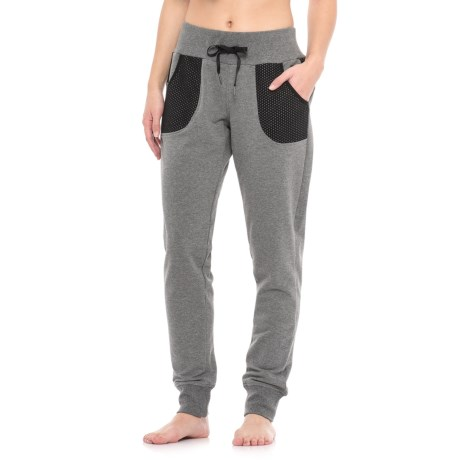 Nicole Miller French Terry Joggers - Sport Mesh Pockets (For Women) in Flint Grey Heather