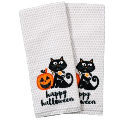 Halloween Kitchen Towels | Nicole Miller Halloween Cat Kitchen Towels Set Of 2 18x28 Save 40