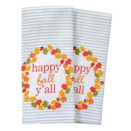 """Nicole Miller Happy Fall Y'All Kitchen Towels - Set of 2, 18x28"""" in Teal Orange - Closeouts"""