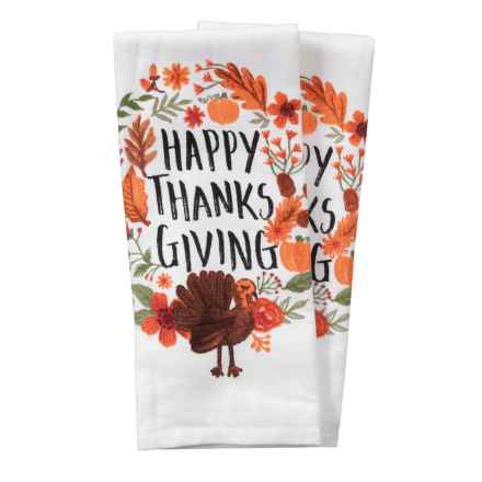 "Nicole Miller Happy Thanksgiving Turkey Kitchen Towels - Set of 2, 18x28"" in Orange Multi - Closeouts"