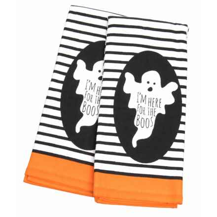 "Nicole Miller Here For the Boos Kitchen Towels - Set of 2, 18x28"" in Black/Orange - Closeouts"