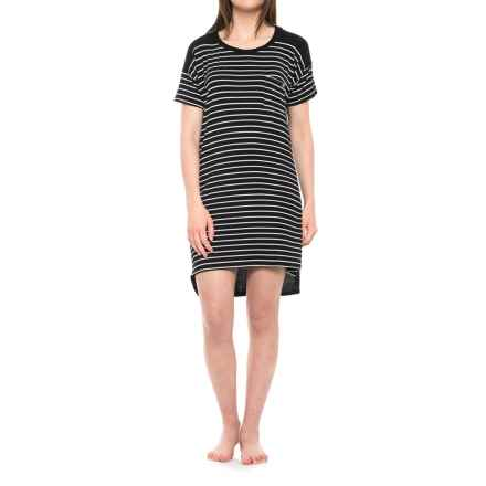 Nicole Miller High-Low Color-Block Sleep Shirt - Short Sleeve (For Women) in White Wide Stripe/Black - Closeouts