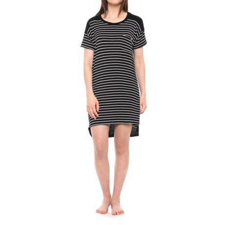Nicole Miller High-Low Color-Block Sleep Shirt - Short Sleeve (For Women) in White Wide Stripe/Black