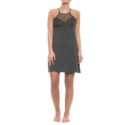 Nicole Miller High Neck Linear Lace Chemise - Sleeveless (For Women) in Charcoal Heather - Closeouts