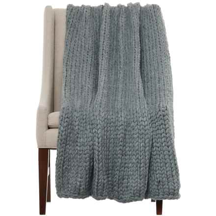 "Nicole Miller Himalaya Knit Throw Blanket - 50x60"" in Dark Grey - Closeouts"