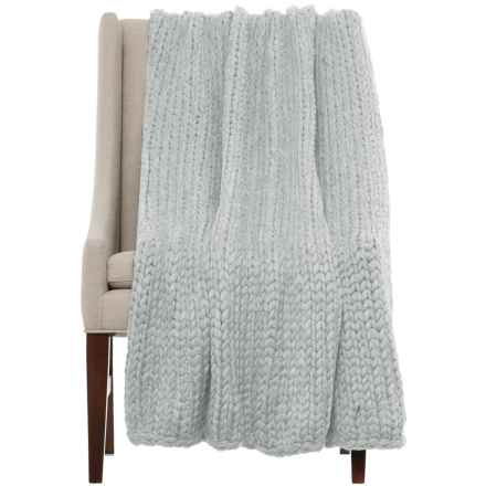 "Nicole Miller Himalaya Knit Throw Blanket - 50x60"" in Light Grey - Closeouts"