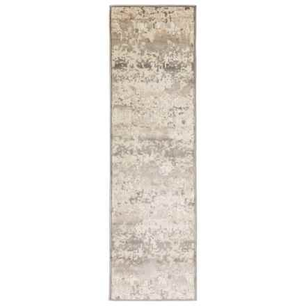 "Nicole Miller Infinity Floral Collection Floor Runner - 2'2"" x 7'3"" in Ivory/Gray - Closeouts"