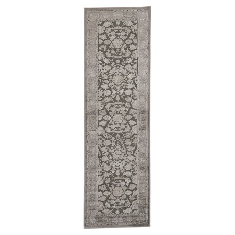 "Nicole Miller Infinity Floral Collection Floor Runner - 2'2""x7'3"" in Dark Gray/Gray"