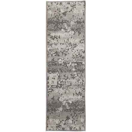 "Nicole Miller Infinity Marble Collection Floor Runner - 2'2""x7'3"" in Dark Gray/Gray - Closeouts"