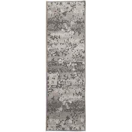 "Nicole Miller Infinity Marble Collection Floor Runner - 2'2""x7'3"" in Dark Gray/Gray - Closeouts"