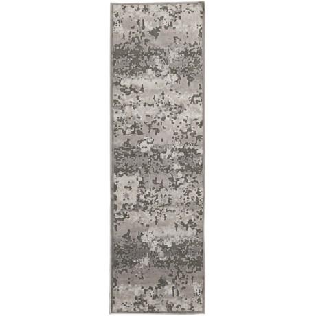 """Nicole Miller Infinity Marble Collection Floor Runner - 2'2""""x7'3"""" in Dark Gray/Gray"""