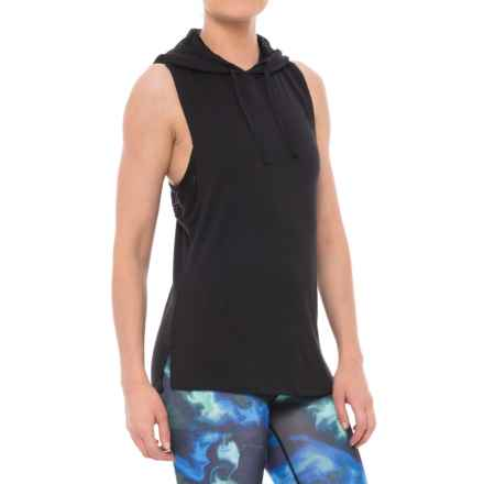 Nicole Miller Laser Mesh Hooded Tank Top (For Women) in Black - Closeouts