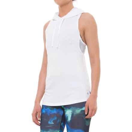 Nicole Miller Laser Mesh Hooded Tank Top (For Women) in Stark White - Closeouts