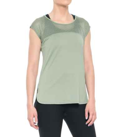 Nicole Miller Laser Mesh T-Shirt - Short Sleeve (For Women) in Lily Pad - Closeouts