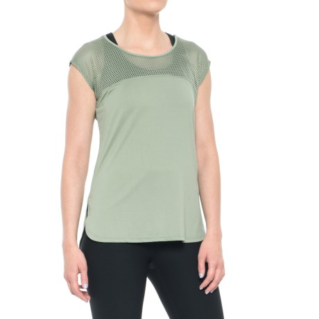 Nicole Miller Laser Mesh T-Shirt - Short Sleeve (For Women) in Lily Pad