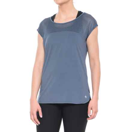 Nicole Miller Laser Mesh T-Shirt - Short Sleeve (For Women) in Vintage Indigo - Closeouts