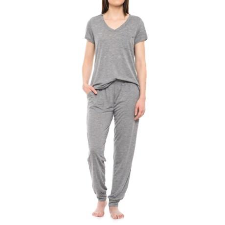 Nicole Miller Loungewear Pajamas - Short Sleeve (For Women) in Charcoal Yds