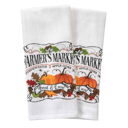 "Nicole Miller Market Chalkboard Kitchen Towels - Set of 2, 18x28"" in Orange Multi - Closeouts"