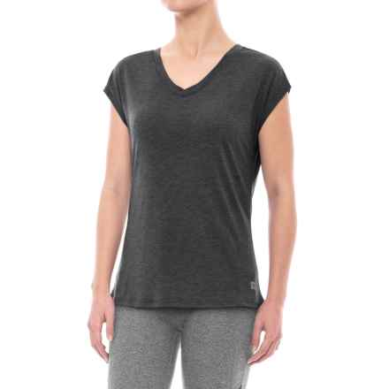 Nicole Miller Mix-Mesh Shirt - V-Neck, Short Sleeve (For Women) in Charcoal Heather - Closeouts