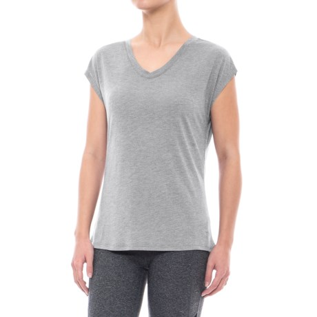Nicole Miller Mix-Mesh Shirt - V-Neck, Short Sleeve (For Women) in Grey Heather