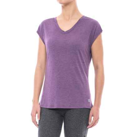 Nicole Miller Mix-Mesh Shirt - V-Neck, Short Sleeve (For Women) in Plum Heather - Closeouts