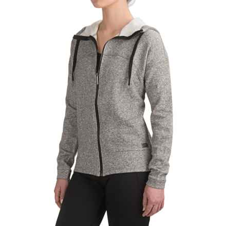Nicole Miller New York Active Herringbone Hoodie - Full Zip (For Women) in Black Heather - Closeouts