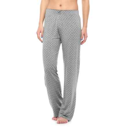 Nicole Miller Picot Pajama Pants (For Women) in Light Heather Diam - Closeouts