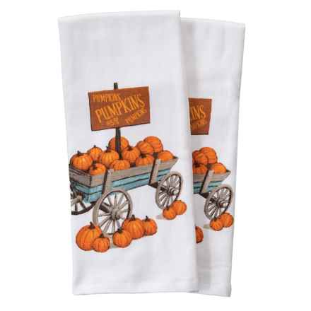 "Nicole Miller Pumpkin Cart Kitchen Towels - Set of 2, 18x28"" in Orange Ivory - Closeouts"
