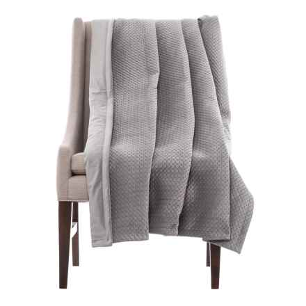"Nicole Miller Quilted Velvet Throw Blanket - 50x60"" in Grey - Closeouts"